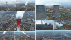 Luftschuß eines Kohlenfeuer-Kraftwerks Montage des geteilten Bildschirms 4K stock footage