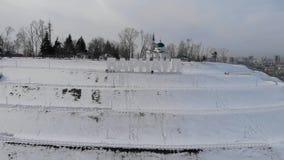 Luftschu? der Hauptansicht zu Barnaul-Stadt stock video footage