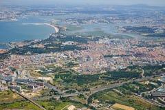 Luftsikten av Almada portugal Arkivfoto