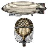 Luftskepp eller zeppelinare och dirigible eller litet luftskepp, luftballong eller aerostatillustration För lopp inristad hand so Royaltyfri Bild