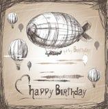 Luftskepp för lycklig födelsedag royaltyfri illustrationer