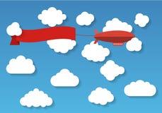 Luftskepp i den molniga himlen Plan vektor royaltyfri illustrationer
