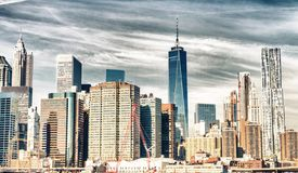 Luftskyline von New York City stockbild
