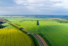 Luftsommerlandschaft Bunte Felder im Sonnenlicht von oben Stockfotografie