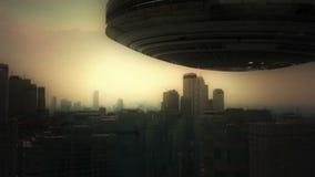 Luftstadt 3d und UFO vektor abbildung