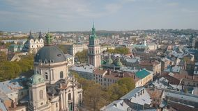 Luftstadt Lemberg, Ukraine Europ?ische Stadt Popul?re Bereiche der Stadt dominikanisch lizenzfreies stockbild