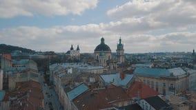 Luftstadt Lemberg, Ukraine Europ?ische Stadt Popul?re Bereiche der Stadt dominikanisch lizenzfreie stockfotos