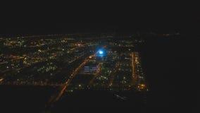Luftstadt mit Wolkenkratzern und Gebäuden bis zum Nacht Philippinen, Manila, Makati stock footage