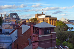 Luftstadtlandschaftsansicht der Felsen in Sydney Australia Stockfoto