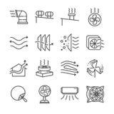 Luftströmlinje symbolsuppsättning Inklusive symbolerna som luftström, turbinen, fan, luftventilation, ventilatorer och mer Royaltyfri Fotografi