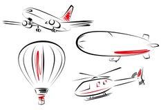 Lufttransport-Ikonenset Lizenzfreie Stockfotos