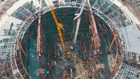 Lufttrieb-Fußball-Stadion im Bau stock footage