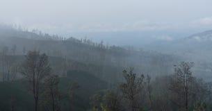 Luftverschmutzung, Smog über Wäldern nähern sich kawah Ijen, das in Indonesien vulkanisch ist lizenzfreie stockfotos