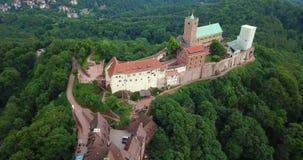 Luftvideo Wartburgs Thüringen Eisenach Deutschland stock video footage