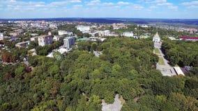 Luftvideographylandschaftsnaturbaum und -Flussüberquerung stock video