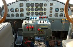 Luftwaffe airplane cockpit. Restored pilot cabin oj junkers ju-52 german airplane from world war II Stock Image