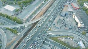 Luftzeitspanne Stau auf einer Autostraße in der Hauptverkehrszeit Lizenzfreies Stockbild