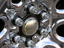 Lug nuts on a new truck. Royalty Free Stock Image