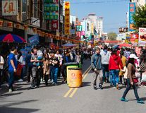 Lugang street view celebration with tourists crowd on Chinese ne. 16 February 2018, Lukang Changhua Taiwan : Lugang street view celebration with tourists crowd royalty free stock images