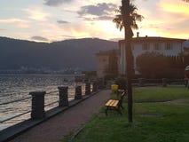 Lugano湖夏天日落棕榈 库存图片