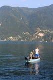 Lugano湖边钓鱼 库存照片
