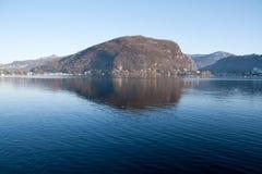 湖lugano 图库摄影