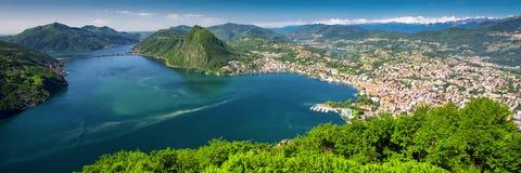 Lugano city, Lugano lake and Monte San Salvatore from Monte Bre, Ticino, Switzerland. View to Lugano city, Lugano lake and Monte San Salvatore from Monte Bre Stock Photography