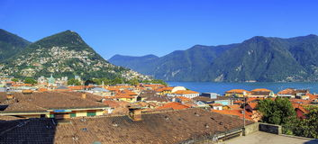 Lugano city panorama, Ticino, Switzerland Stock Images
