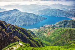 Lugano city, San Salvatore mountain and Lugano lake from Monte Generoso, Canton Ticino, Switzerland Royalty Free Stock Image