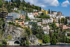 Lugano city from the lake royalty free stock photography