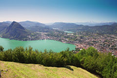 Lugano city with the view of lake Lugano and mountains Royalty Free Stock Image