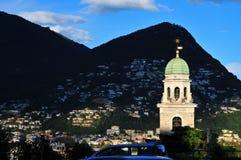 Lugano clock tower Royalty Free Stock Photo