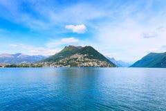 Lugano het landschap van het Meer. Zwitserse Ticino, Stock Fotografie