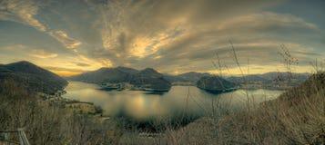 Lugano lake landscape royalty free stock image