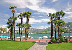 Lugano at Lake Lugano,Ticino,Switzerland Stock Image