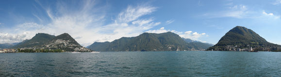 Lugano lake panorama Royalty Free Stock Photography
