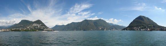 Lugano lake panorama. Panoramic view of Lugano lake, in Switzerland Royalty Free Stock Photography