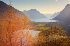 Lugano Lake and Piano or Romazza lake Stock Photos