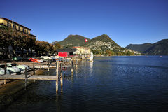 Lugano Lake in Switzerland Royalty Free Stock Photo