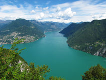 Lugano lake - Switzerland. Beautiful view of Lugano lake from Monte San Salvatore (Switzerland Royalty Free Stock Photos
