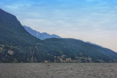 Lugano lake in Switzerland. Stock Image