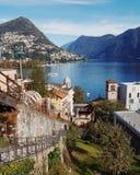 Lugano lake switzerland. Lugano lake view top view Stock Photo