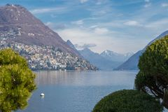 Lugano lake Ticino Tessin Switzerland royalty free stock image