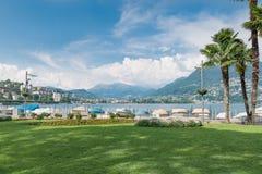 Lugano city on Lake Lugano, summer view of Switzerland royalty free stock photos