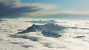 Lugano lakesnowstorm som kommer upp arkivfoto
