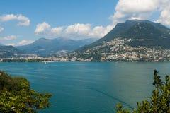 Lugano mening van het meer Royalty-vrije Stock Foto
