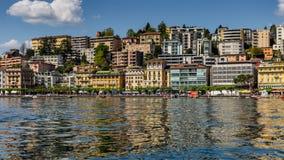 Lugano miasto od jeziora zdjęcia stock