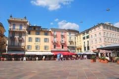 Lugano mitt av staden Royaltyfria Foton