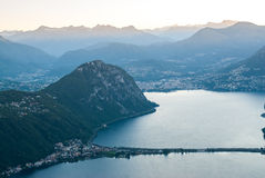 Lugano and Monte San Salvatore Stock Images