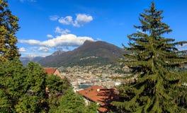 Lugano nella sera del autumntime Immagini Stock Libere da Diritti